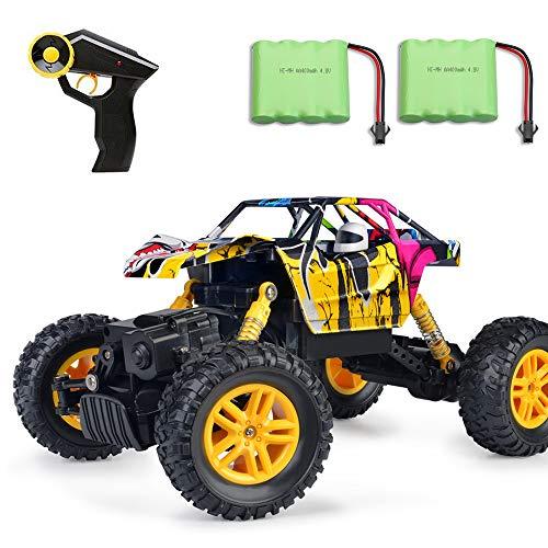 MaxTronic Remote Control Car 2.4GHz 4WD Off Road High Speed RC Car 1/18 Dual Motors Rock Crawler Graffiti Racing Monster Truck