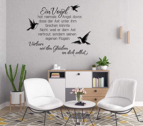 ttoo-Wandsticker Spruch ***Ein Vogel hat niemals Angst. (Größen.- und Farbauswahl) ()