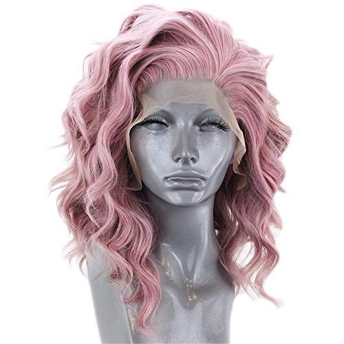 ZYC Hochtemperatur Faserfrei Teil 360 Frontal Kurze Tiefe Welle Bob Volles Haar Perücken Rosa Synthetische Lace Front Perücke für Frauen,1 (Teil Mit Perücken Echthaar)