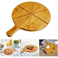"""Natural Bamboo Pizza Cutting Board - Joyoldelf Pizza Peel Paddle with 6 Grooves, Perfect for Serving Cheeses, Bread & Pizzas, 11.8"""" Diameter (Bamboo)"""