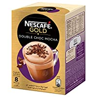 NESCAFE GOLD Double Choc MOCHA Instant Foaming Coffee with Chocolate Mix - 23 gm x 8 Sticks
