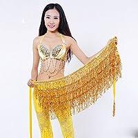 WLG Traje de Danza del Vientre, Cadena de Cintura, Cadena de Cintura de Danza India, Danza del Vientre, práctica, Lentejuelas, Borla, Cintura, Cadena,Amarillo,Un tamaño