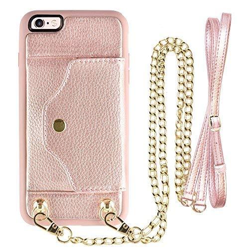 iPhone 6Plus Wallet Fall, lameeku iPhone 6S Plus Hülle mit Kreditkarte Holder Slot Leder Case, Schutzhülle mit Crossbody Kette Gurt und Handschlaufe für Apple iPhone 6Plus/6S Plus 14cm, Gold