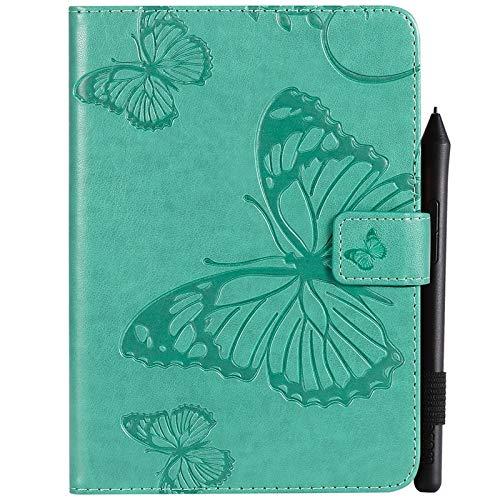 YUWEN Mode Retro Schmetterlings-Blumenmuster PU-Leder-Mappe Kratzfeste Schutzhülle für Amazon Kindle Paperwhite 4 (10. Generation-2018), mit Kartenhalter für Kartenhalter Abdeckungen (Farbe : Grün)