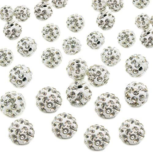 TOAOB 10mm Shamballa Perlen Glitzer Disko Kugel Bead Kristallkugel Armband basteln Packung mit 100 Stück