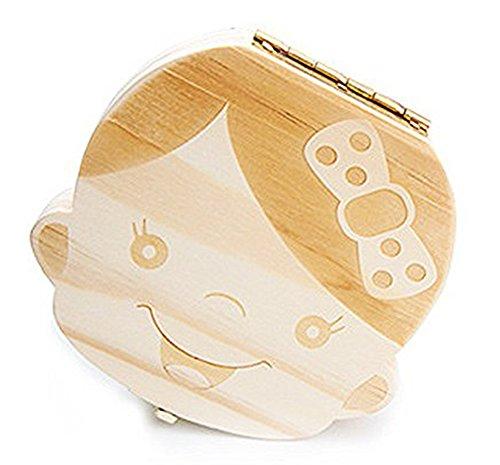 Hosaire 1x Kreative Zahn Baby Mädchen Memory Box, aus Holz Cartoon-Muster Baby sparen Organizer Milch Zahn Holz Aufbewahrung Souvenir Box,holz,Light white, Girl