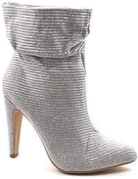Angkorly - Scarpe Moda Stivaletti Scarponcini Stivali - Scarponi da Sera  Roccia Flessibile Donna Glitter Strass 40f05523ec2