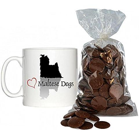 Maltese cani, motivo: cuori, con 6 tazzine da caffè, 200 g di cioccolato al latte bottoni.