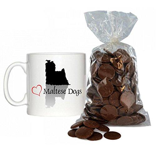 Stilvolles Herz Malteser Hunde Design 170,1Espresso Tasse inkl. 200g Beutel von Milch Schokolade Tasten.