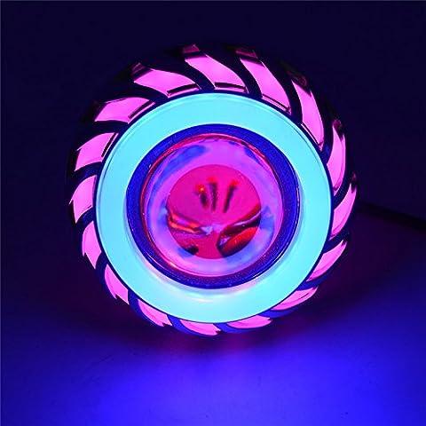 Andux Zone Angel Devil Eyes moto / voiture LED Projecteur Hi / Low Phare CREE EMY-03 (Rose / Bleu Halo, 2 pièces)