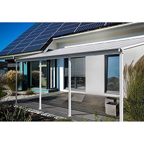 Home Deluxe - Terrassenüberdachung weiß - Maße: 557 x 303 x 226/278 cm - Inkl. komplettem Zubehör - verschiedene Größen