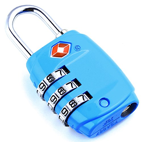DonDon Reiseschloss TSA Travel Sentry Approved Gepäckschloss blau -