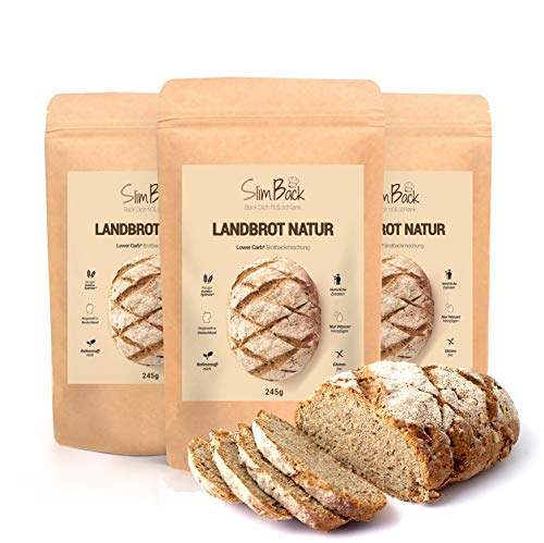 SlimBack - LOWER CARB LANDBROT Natur - 3er Pack - Brot...