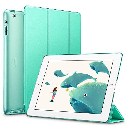 iPad 2/3/4funda, ESR Funda para Apple iPad 2/3/4Smart Case Cover Piel Sintética Trifold y translúcido Frosted Back Funda magnética con función de encendido y apagado automático [Ultra Slim] [ligero] para iPad 2/iPad 3/iPad 4(menta verde)
