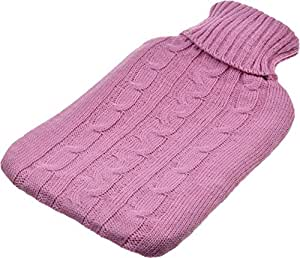 Harbour Housewares Full Size Hot Water Bottle With Knitted Cover - Pink