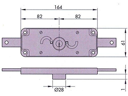 Azbe M56791–Verrou pour porte, Métal 11a, fer zingué