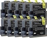 10 Druckerpatronen Tintenpatronen für Brother black (Schwarz) ersetzt LC970 LC1000 DCP-130C DCP-135C DCP-150C, DCP-330C DCP-350C DCP-357C DCP-540C DCP-560CN DCP-750CW DCP-770CW MFC-235C MFC-240C, MFC-260C MFC-440CN MFC-465CN MFC-660CN MFC-680CN MFC-845CW MFC-885CW MFC-3360CN MFC-5460CN MFC-5860CN