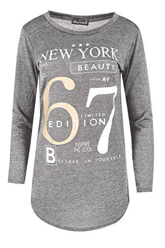 Be Jealous Damen Frauen Marl gestrickt New York Schönheit 67 Limited Edition Ausgebeult Vollhülse Gebogene Saum T-Shirt Oben Grau Marl