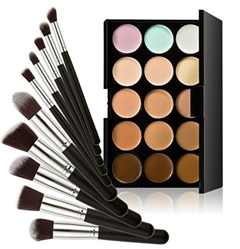 Timesong professionnel 10 pcs Cosmétique Lot de pinceaux de maquillage + 15 couleurs maquillage Anti-cernes Palette de poignée (Noir et argent)