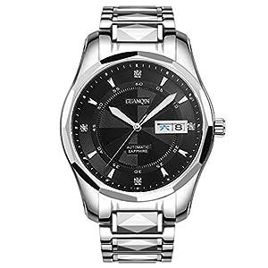 Love Life Herren-Business-Uhr, Mode Herrenuhr Saphirglas Spiegel Doppel Kalender Zifferblatt, automatische mechanische Uhr wasserdicht Leuchtend