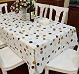Mantel Fanjow, de PVC, de mesa, diseño de mesa de plástico, resistente al agua, impermeable, para interior/exterior, POLKA DOT, 137cm*100cm/53.94'*39.37'