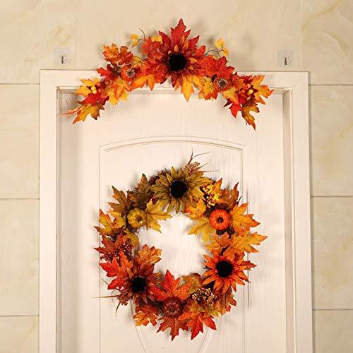cosyhouse Adorno de Girasol para Puerta de Halloween, Flores Artificiales Decorativas para...