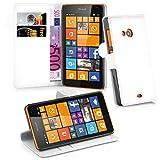 Cadorabo Hülle für Nokia Lumia 535 Hülle in Handyhülle mit Kartenfach und Standfunktion Case Cover Schutzhülle Etui Tasche Book Klapp Style arktis Weiß