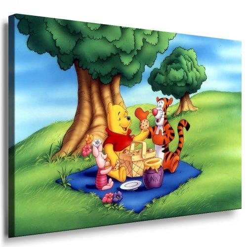Winnie the Pooh Kinderzimmer Leinwand Bild - 100x70cm k. Poster ! Bild fertig auf Keilrahmen ! Pop Art Gemälde Kunstdrucke, Wandbilder, Bilder zur Dekoration - Deko / Top 100 ! Bilder für Kinderzimmer - Babyzimmer