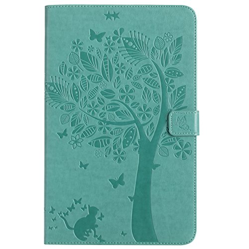 Custodia Galaxy Tab E 9.6, Galaxy Tab E 9.6 Flip Case Leather, SainCat Custodia in Pelle Cover per Samsung Galaxy Tab E 9.6 T560/T561, Anti-Scratch Book Style Protettiva Caso PU Leather Flip Portafogl Verde