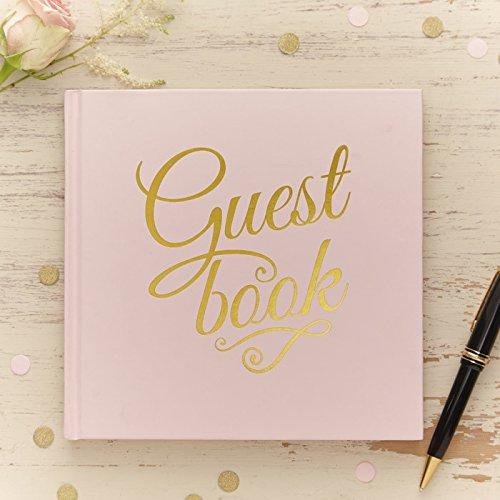 Ginger ray - libro degli invitati per matrimonio, colore: rosa pastello e oro