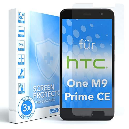 EAZY CASE 3X Panzerglas Displayschutz 9H Härte für HTC One M9 (Prime Camera Edition), nur 0,3 mm dick I Schutzglas aus gehärteter 2,5D Panzerglasfolie, Displayschutzglas, Transparent/Kristallklar