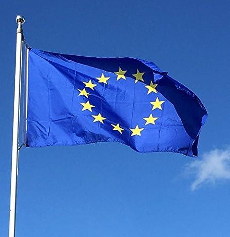 1.5m x 0,9m (60 pouce x 36 Pouce) Européen DRAPEAU De L'Union EU L'Europe Euro Bleu Star Drapeau
