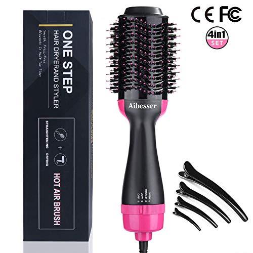 Aibesser 4 in 1 Haartrockner Upgrade Multifunktion Warmluftbürste Salon Hair Styler Volumizer Volumen bürste Heißluftkamm Haarglätter Negativer Ionen Föhn mit Vier Haarspangen für alle Haartypen