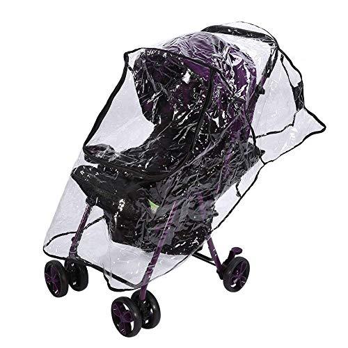 Housse Poussette Pluie Confort bébé Universel pour Landau PVC Imperméable à l'eau Vent à L'épreuve Poussière Parapluie Couverture Accessoire Fermeture éclair