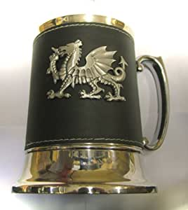 One Pint Leather covered Tankard with Pewter badge in Presentation Box