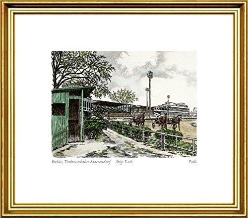 Handkolorierte original Radierung Berlin, Trabrennbahn Mariendorf von Falk im Rahmen Goldkehle, Graphik, kein Kunstdruck, kein Leinwandbild