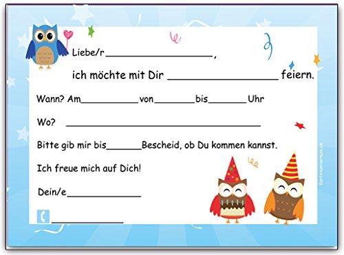Eulen Einladungskarten zum Kindergeburtstag Einladung Geburtstag Kinder Set Eule Jungen Mädchen ...