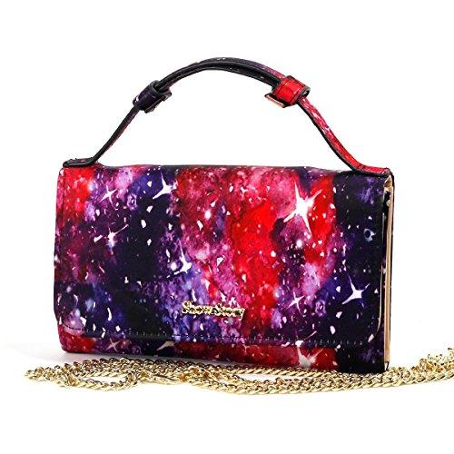 Show Story-Borsetta da donna a borsetta Clutch-Borsa a tracolla, per moneta Case Cover Multicolore (Night Sky Black)