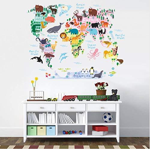 LGXINGLIyidian Bunte Welt Tiere Karte Wandaufkleber Kinderzimmer Kindergarten Klassenzimmer Dekoration PVC Klebstoff DIY Wand Safari Wandbild Kunst Decals B