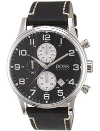 Hugo Boss 1512569 - Reloj analógico de caballero de cuarzo con correa de piel negra