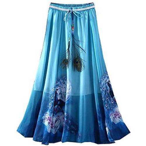 Dheylu Creation Women's Heavy Crepe Printed Stylish Long Skirt (Blue Colour)