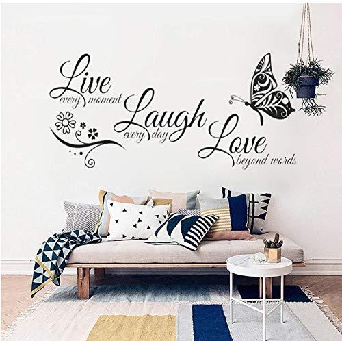 Text index sprache Live Lachen Liebe Schmetterling Blume Wandkunst Aufkleber Vinyl Wandaufkleber für Wohnzimmer Wohnkultur 131x56 cm (Index Karten Baby)