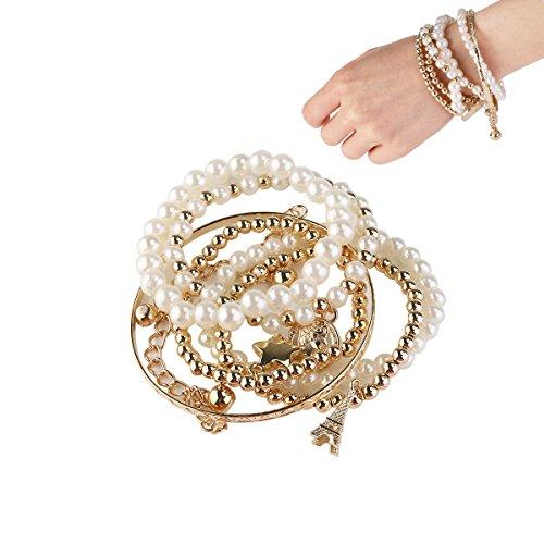 OULII Eiffelturm Armband Perlen Armbänder Schmuck Vintage Perlen Münze Kombination Armbänder für Geburtstag Geschenk Mitbringsel (Gold)