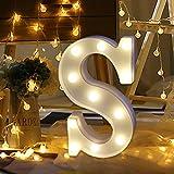 ODJOY-FAN 26 Englisch Brief Licht LED Letter Light Alphabet LED Beleuchtung Licht Oben Weiß Kunststoff Briefe Stehen Hängend A-M Wohnaccessoires Lichter Zubehör (S,1 PC)