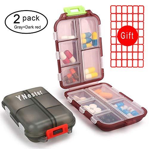 2er Pack Pillenetui Tragbare Kleine 7-tägige wöchentliche Reise-Pille Organizer Portable Pocket Pill Box Dispenser für Geldbeutel Tasche Vitamin Fischöl Fächer Container Medizin-Box (Dunkelrot + Grau) -