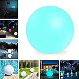 uuffoo Sfera solare a LED, Lampada a sfera galleggiante impermeabile esterna, 16 colori RGB, con presa a terra per illuminazione di piscine, giardini e ambienti(25CM)