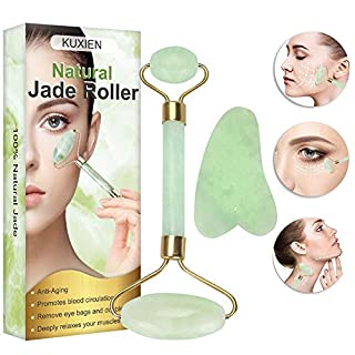 Jade Roller, Jade Face Roller, Jade Roller Massager, Natural Jade Facial Roller, Anti Aging Jade Roller Set with Gua Sha Scraping Tool for SPA Face Massage Anti Aging Cold Therapy Beauty Sliming