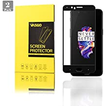[2 Pack] OnePlus 5 Protector de pantalla, vasgo [cobertura completa] vidrio templado protectores de pantalla [borde a borde] protección Invisible toda Crystal Clear Protector de pantalla para OnePlus 5 (negro)