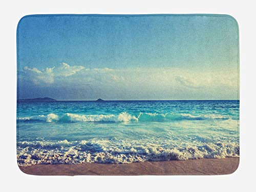 tgyew Tropical Island Bath Mat, Ocean Waves on Seychelles Beach at The Sunset Time Skyline, Plush Bathroom Decor Mat with Non Slip Backing, 23.6 W X 15.7 W Inches, Turquoise Sky Blue Umber Seychelles Natural