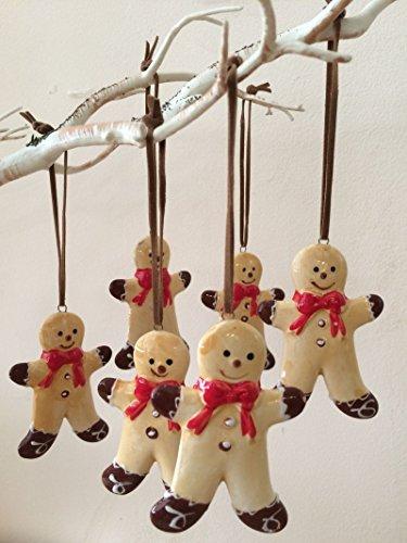 Set di 6 Gingerbread Uomini ceramica Shabby Chic Decorazioni dell'albero di Natale